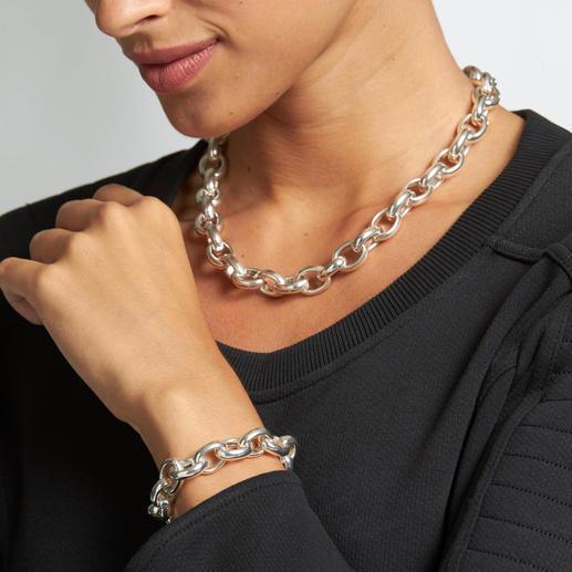 Ankerarmband oder -kette Imposante Größe, massives Sterlingsilber: die Edel-Version angesagter Ankerketten.