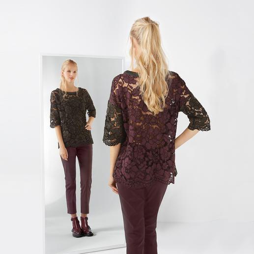 Twin-Set Spitzen-Shirt und 5-Pocket-Hose