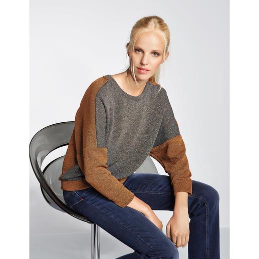 Pinko Lurex-Sweater - In der kupfer- und khaki-farbenen Melange wird der Lurex-Sweater ungewöhnlich dezent. Und sogar tagestauglich.