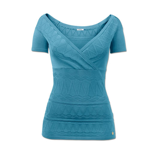 Versace Collection Wrap-Look-Pulli Sportiver Strick, selten feminin. Versaces Trendsetter in Aqua-Ton und Muster-Mix.