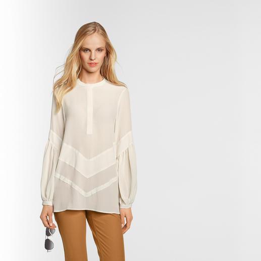 Sly 010 Stretchseiden-Tunika, Cremeweiß Trend Hippie-Bluse. Die von Sly 010 ist aus reiner Seide – selten edel und elegant.