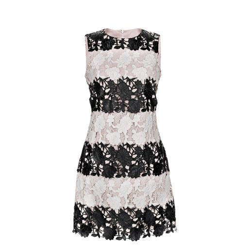 Sly 010 Spitzen-Kunstleder-Kleid Spitze. Schwarz/Weiß. Leder-Optik. Das außergewöhnliche Einzelstück unter den Spitzenkleidern.