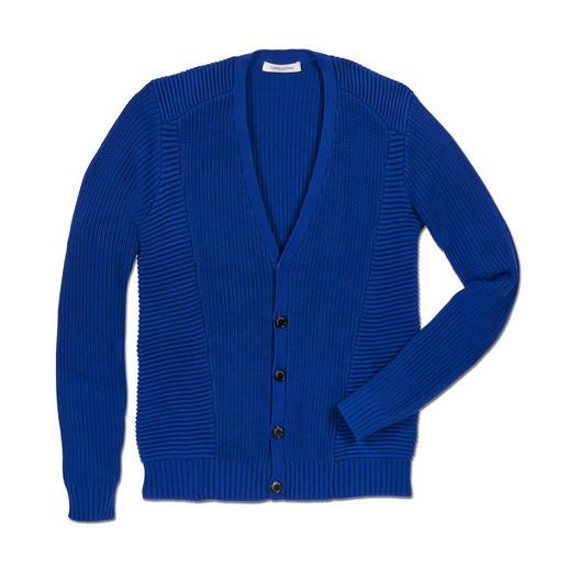 Balmain Grobstrick-Cardigan Balmains Cardigan vereint die wichtigen Trends: Grobstrick, Struktur, Blau-Ton.