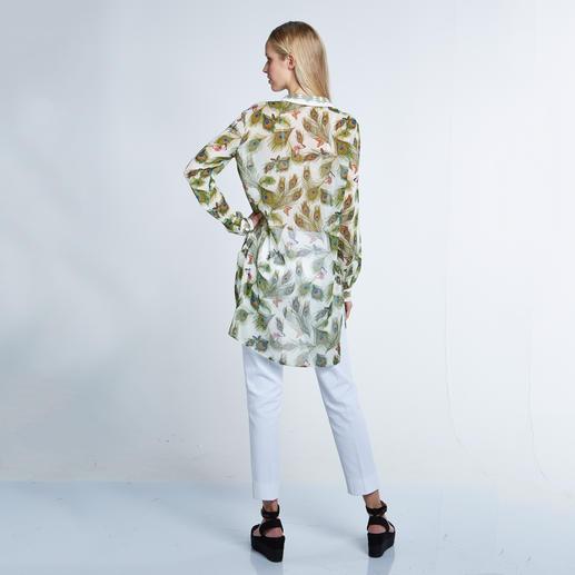 Versace Collection Pfauenfeder-Bluse 1 Bluse – 4 Trends: Federn. Schmetterlinge. Longform. Flatterstoff.