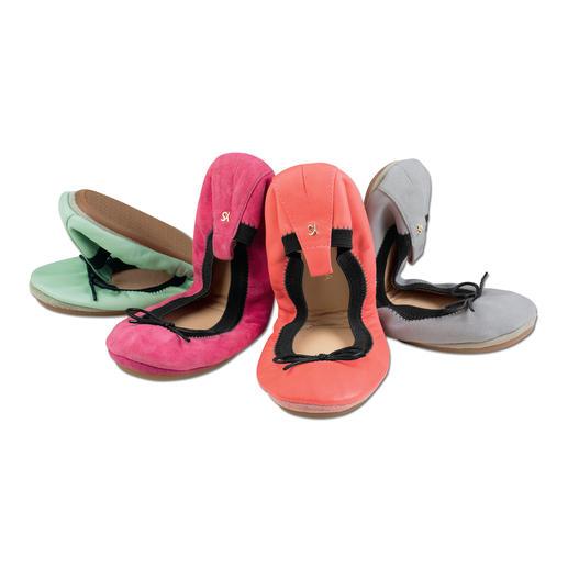 """Yosi Soft-Colour-Ballerinas Angesagte Soft-Colours gepaart mit klassischer Ballerina-Schleife. Trend-Update für die """"fold-up flats""""."""