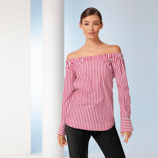 Pinko Off-Shoulder- Streifenbluse Pinko macht die Off-Shoulder-Bluse sogar businesstauglich.