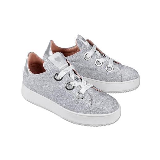 Twin-Set Lurex-Sneaker Ganz oben in den Sneaker-Charts: Glitter und dicke Sohlen. Spektakulär umgesetzt von Twin-Set.
