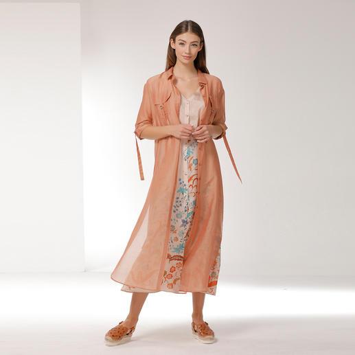 Blüten-Maxi-Kleid und Duster-Mantel