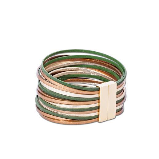 Lederarmband Metalloptik Die Optik von Metall. Aber leicht, flexibel und anschmiegsam. Das handgefertigte Leder-Armband aus Frankreich.