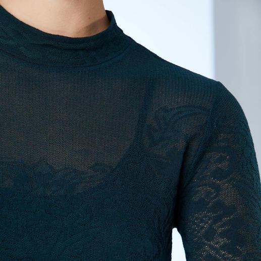 M Missoni Spitzen-Strick-Kleid Gestrickte Spitze. Modisches Petrol. Missoni setzt die Trends meisterlich um.