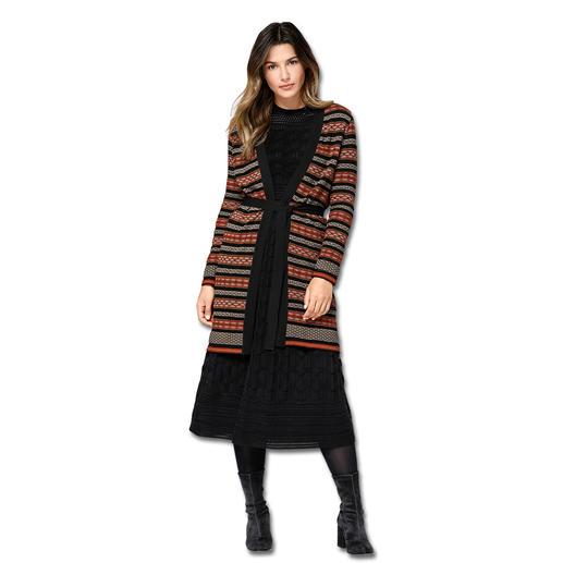 MMissoni Long-Cardigan oder Midi-Kleid Muster trägt man jetzt gemixt. In Strick am besten von M Missoni.