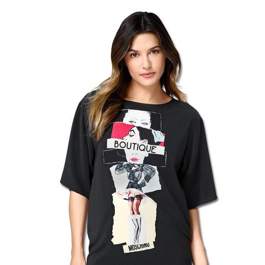 Boutique Moschino Print-Kleid Moschinos Kleider-Bestseller trifft zugleich die aktuellen Trends: fließende Stoffe und kastige Formen.