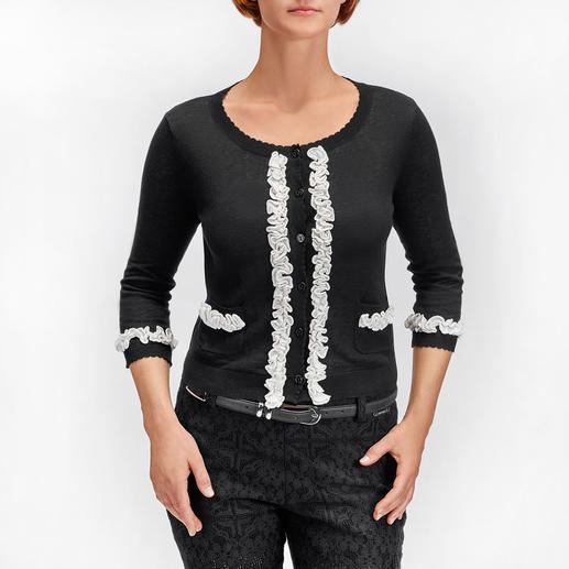 Twin-Set Couture-Cardigan Dauertrend Schwarz/Weiß: Jetzt verspielt verziert mit angesagten Rüschen. Der Couture-Cardigan von Twin-Set.