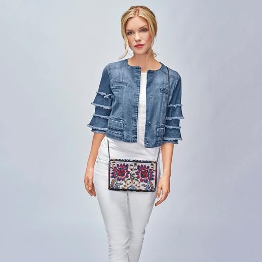 Liu Jo Jeans Statement-Sleeves-Jeansjacke Obendrüber statt untendrunter: Statement-Ärmel machen die Jeansjacke von Liu Jo zum Fashion-Star 2018.