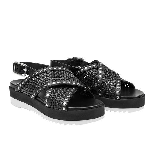 Ma&Lo Cross-Strap-Sandale Cross-Straps, Nieten, Plateau, Profil, weiße Sohle: Trendschuhe made in Italy. Von Ma&Lo.