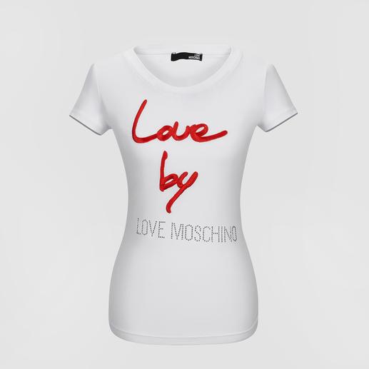 Love Moschino Statement-Shirts Das weiße Basic-Shirt wird zum Fashion-Statement: bei Love Moschino sind sie schon lange heißbegehrt.