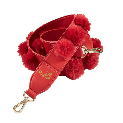 Love Moschino Fake-Fur-Taschengurt Pimp your Bag: Top-Trend Taschen-Wechselgurte - bei Love Moschino mit angesagten Fellbommeln.