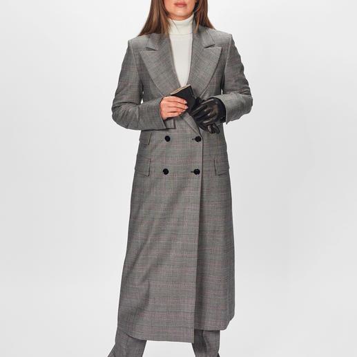 Strenesse Karo-Blazer-Mantel oder -Hose In: Karos. Lange Mäntel. Hosen im Herrenstil. Die wohl eleganteste Kombination kommt von Strenesse.
