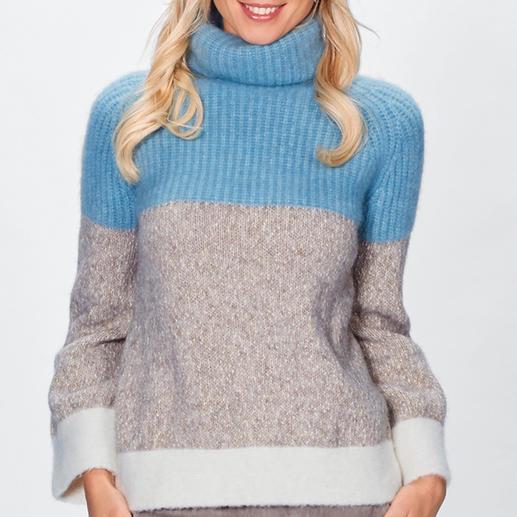 Stefanel Grobstrick-Pullover Fashion hoch fünf: Kastenform. Grobstrick-Rippen. Eisblau. Offwhite. Trompetenärmel. Italienischer Trend-Strick von Stefanel.