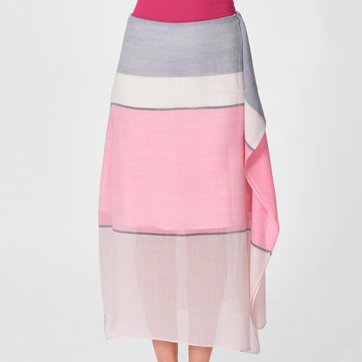 Johnstons Wrap-Style-Rock Trendy: Wrap-Style-Röcke, Blockstreifen, Pastell- und Beerentöne. Liebe für immer: der Merino-Rock von Johnstons of Elgin.