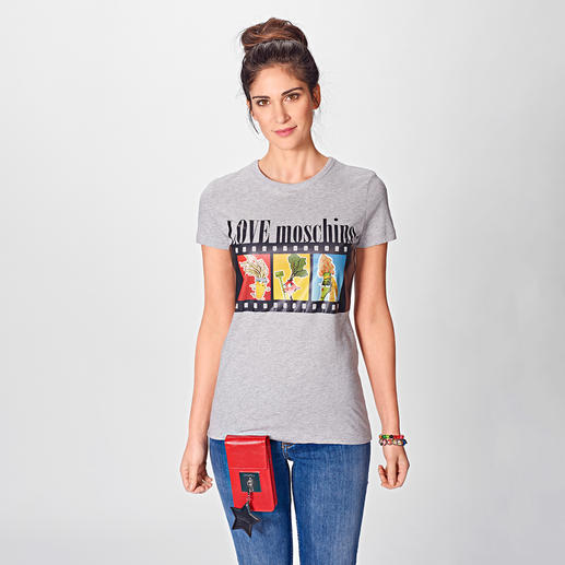 Love Moschino Shirt Filmrolle Blüten machen jetzt alle. Love Moschino macht Gemüse.