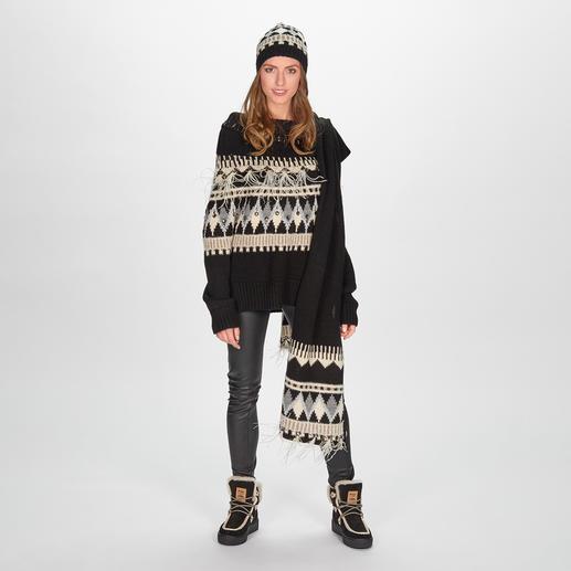 TWINSET Norweger-Mütze, -Schal oder -Pulli TWINSET trifft den Norweger-Trend auf besonders glamouröse Art: mit Federn, Lurex und Schmucksteinen.