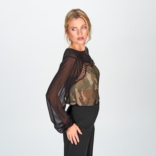 TWINSET Camouflage-Blusenshirt Feminin-verspielt statt maskulin-derb – das elegante Camouflage-Blusenshirt mit Spitzen-Detail. Von TWINSET.