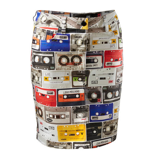 Love Moschino Kassettenprint-Rock Eine Fashion-Hommage an die Musik-Kassette: der 5-Pocket-Rock mit topmodischem Retro-Dessin.
