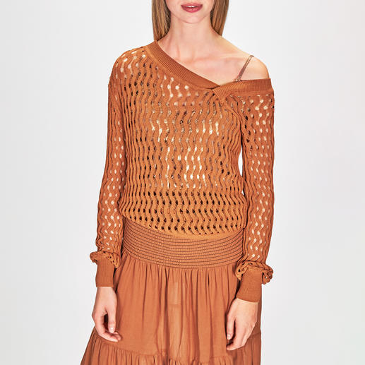 Pinko Lochstrick-Pullover oder Maxi-Rockkleid Stilistisch und farblich die perfekte Kombi –für die aktuelle Mode, den Urlaub, Business, Freizeit, Party, ...