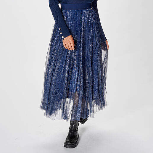 Liu Jo Plissee-Glitzer-Rock - Vom Abendstar zur Glamour-Daywear - Liu Jos Eventwear wird tagestauglich: der Maxi-Skirt aus plissiertem Glitzer-Tüll.