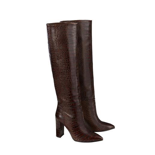 SLY010 Kroko-Stiefel Der wohl perfekte Trendstiefel kommt von SLY010: Weiter Schaft. Hoher Blockabsatz. Feines Leder mit Kroko-Prägung. Nur 469,-€.