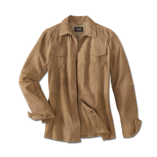 Klima-Komfort-Lederjacke Die Lederjacke für den Sommer – leicht und luftig wie ein Hemd. Wiegt nur 660 Gramm. Aus hauchzartem Ziegenvelours.
