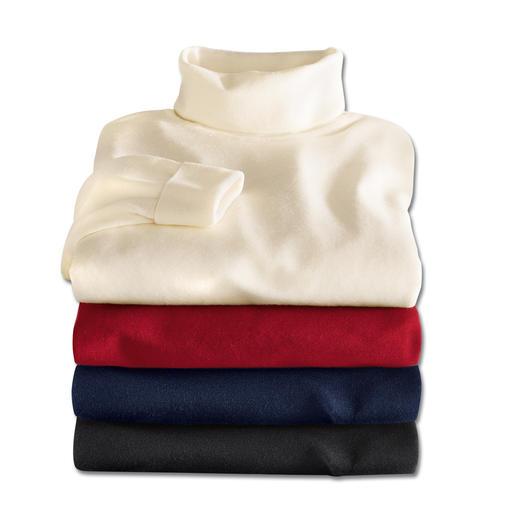 Rollkragen-Pullover, Creme, Rot, Navy, Schwarz
