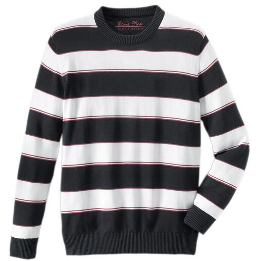 """Pima-Pullover """"Maritime Block Stripes"""" Leicht, luftig und streichelzart auf bloßer Haut: Der Pulli aus seltener Pima-Cotton."""