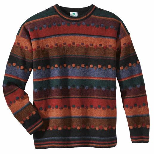 Pullover Irischer Herbst Edler Jacquard aus robuster, reiner Schurwolle handwerklich gefertigt.