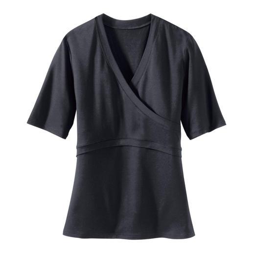 Kurzarm-Wickel-Shirt Endlich ein Wickelshirt, das perfekt sitzt. Sein Geheimnis: Optischer Wickeleffekt – ohne lästige Bänder.