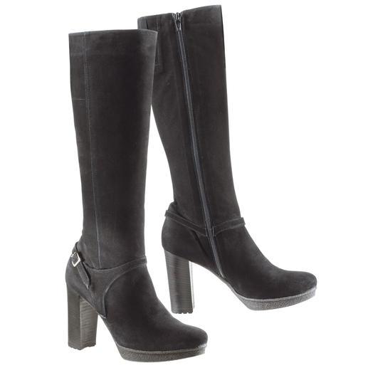 Vesprini Krepp-Plateau-Stiefel Elegante, hohe Stiefel – aber erstaunlich bequem. Und sogar winterfest. Mit Kreppsohle und wärmendem Futter.