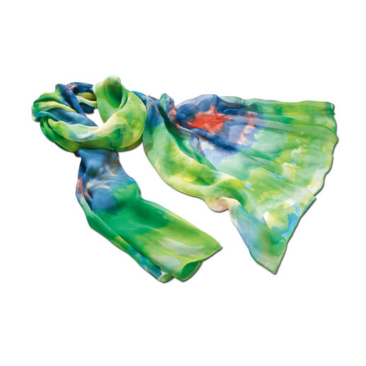 Aquarell-Seidenschal Die schönsten Farben des Sommers – verewigt in zartem Seidengeorgette. Üppige 2 Meter lang. 24 Gramm leicht.