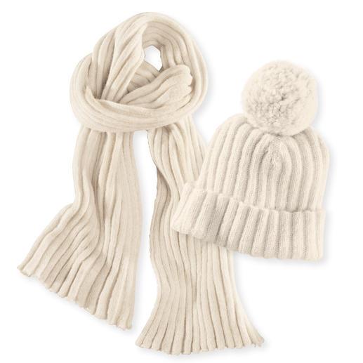 Alpaka-Rippstrick-Mütze oder -Schal Naturbelassene Alpaka-Wolle aus deutscher Zucht. Gut für Ihre Haut (und für unsere Umwelt).