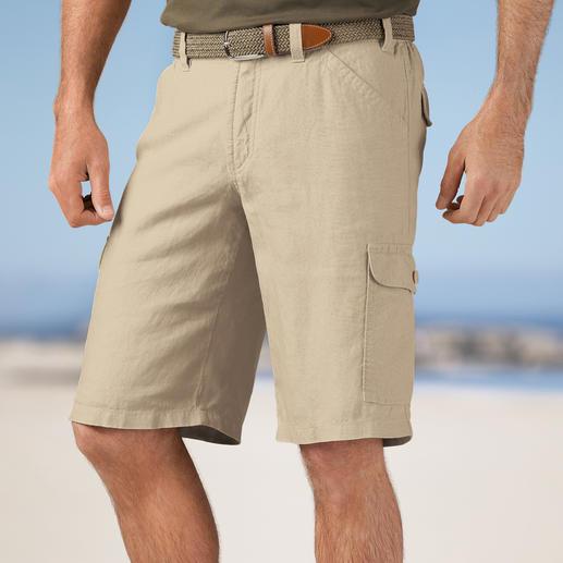 Hoal Leinen-Cargo-Bermudas Die perfekte Urlaubs-Hose: Edel-Bermudas aus italienischem Leinen. Luftig-leicht. Mit 7 praktischen Taschen.