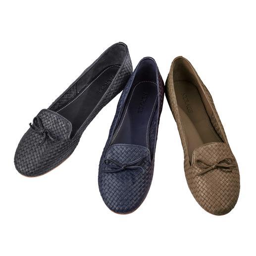 Nurage Flechtleder-Slipper Ihr wahrscheinlich luftigster Slipper: Ungefüttertes Flechtleder lässt Ihre Füße aufatmen. Von Nurage.
