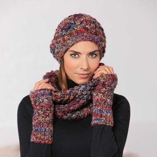 Kero Design Dornröschen-Beanie-Mütze, -Fingerlos-Handschuhe oder -Loop-Schal Von Hand gefärbt und gestrickt: Seltenes Dornröschen-Muster in außergewöhnlicher Farbvielfalt.