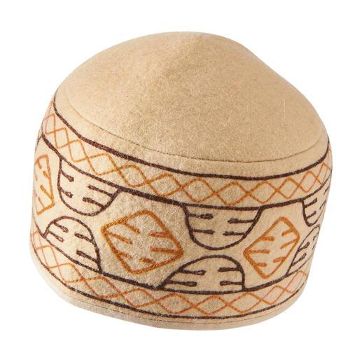 Damen- und Herren-Filzmütze Kirgistan Authentische Filzkappen aus Kirgistan: hierzulande schwer zu finden.
