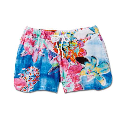 "Who's Who Frottee-Shorts ""Flowers"" - Farbenfroher Flower-Print macht diese Frottee-Shorts zum Mode-Highlight. Exklusiv-Design von Who's Who, Italien."