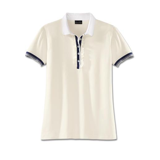 Pima-Cotton Rüschen-Pikee-Polo - Viel charmanter als all die sportlichen Pikee-Polos. Das feminine Polo-Shirt mit Rüschen-Blende und Bubikragen.