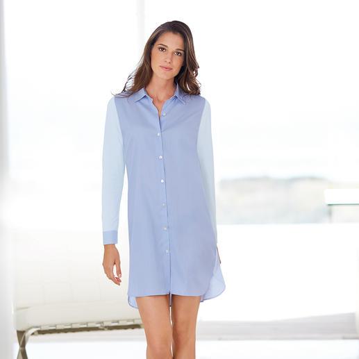 """Pluto Nightshirt """"Two in One"""" Bequem wie ein Jersey-Nachthemd. Aber viel eleganter. Perfekt kombiniert: Hemdenpopeline mit Baumwoll-Jersey."""