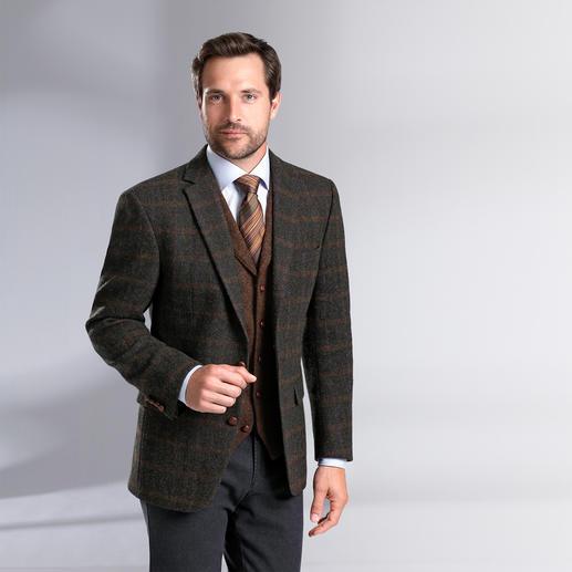 Carl Gross Harris Tweed-Sakko oder -Weste, Rostbraun Original Harris Tweed von den Äußeren Hebriden – aber viel feiner und       leichter als üblich. Von Carl Gross.