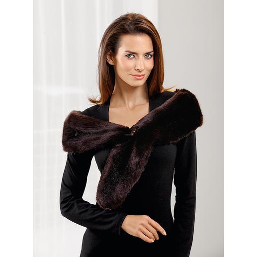 Fake-Fur Vario-Schal MiMi Cree Schal, Loop-Schal, Kragen, Stola, Stirnband,… Aus Webpelz de luxe. Ihr wohl vielseitigster Outfit-Veredler.