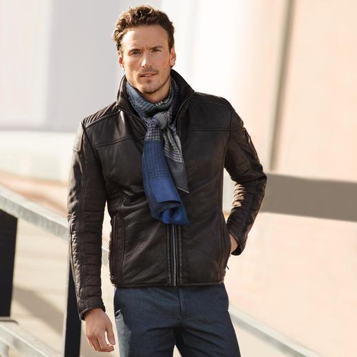 Leder-Mikro-Stretch-Jacke Handschuhweiches Lammleder mit Mikro-Stretch-Gewebe und Warmfutter.