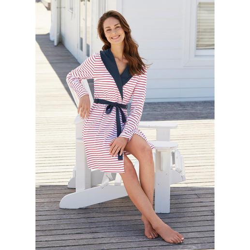 """Taubert Jersey-Hausmantel """"maritim"""" Der ideale Hausmantel für den Sommer. Und fürs Reisegepäck. Stilvolles, maritimes Design."""